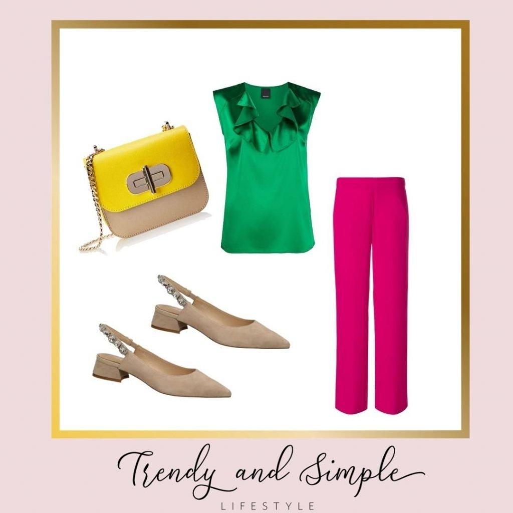 outfit estate 2021 color block pantaloni Fucsia, blusa verde e scarpe e borsa color nude. Outfit per cerimonia