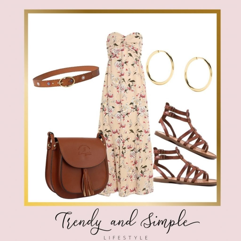 outfit estate 2021 abito lungo fiorato, sandali alla schiava e tracolla cuoio, accessori dorati